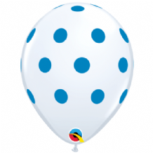 Blue Polka Dots on White - 11 Inch Balloons 25pcs